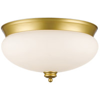 Amon 3 Light 15 inch Satin Gold Flush Mount Ceiling Light