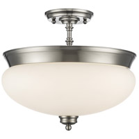 Amon 3 Light 15 inch Brushed Nickel Semi Flush Mount Ceiling Light