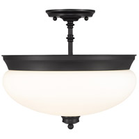 Amon 3 Light 15 inch Matte Black Semi Flush Mount Ceiling Light