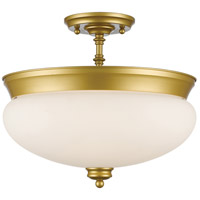 Amon 3 Light 15 inch Satin Gold Semi Flush Mount Ceiling Light