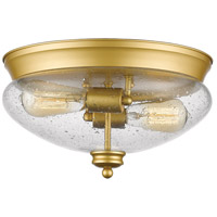Amon 2 Light 13 inch Satin Gold Flush Mount Ceiling Light