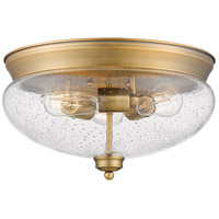 Z-Lite 722F3-HBR Amon 3 Light 15 inch Heritage Brass Flush Mount Ceiling Light in Clear Seedy Glass 5.25