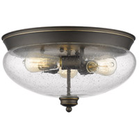 Z-Lite 722F3-OB Amon 3 Light 15 inch Olde Bronze Flush Mount Ceiling Light photo thumbnail
