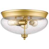 Z-Lite 722F3-SG Amon 3 Light 15 inch Satin Gold Flush Mount Ceiling Light in Clear Seedy Glass, 5.1
