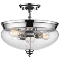Amon 3 Light 15 inch Chrome Semi Flush Mount Ceiling Light