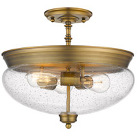 Amon 3 Light 15 inch Heritage Brass Semi Flush Mount Ceiling Light