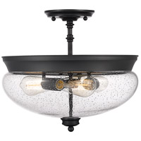 Z-Lite 722SF-MB Amon 3 Light 15 inch Matte Black Semi Flush Mount Ceiling Light in 6