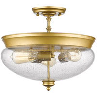 Z-Lite 722SF-SG Amon 3 Light 15 inch Satin Gold Semi Flush Mount Ceiling Light