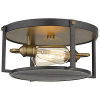 Z-Lite 723F13-BRZ+HBR Halcyon 2 Light 14 inch Bronze and Heritage Brass Flush Mount Ceiling Light
