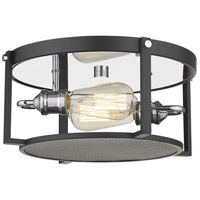 Z-Lite 723F13-MB+CH Halycon 2 Light 14 inch Matte Black and Chrome Flush Mount Ceiling Light