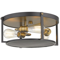 Z-Lite 723F15-BRZ+HBR Halcyon 3 Light 16 inch Bronze and Heritage Brass Flush Mount Ceiling Light
