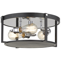Z-Lite 723F15-MB+CH Halycon 3 Light 16 inch Matte Black and Chrome Flush Mount Ceiling Light