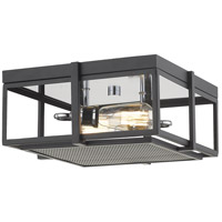 Z-Lite 724F13-MB+CH Halcyon 2 Light 14 inch Matte Black and Chrome Flush Mount Ceiling Light
