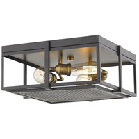 Z-Lite 724F15-BRZ+HBR Halcyon 3 Light 16 inch Bronze and Heritage Brass Flush Mount Ceiling Light