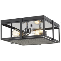 Z-Lite 724F15-MB+CH Halcyon 3 Light 16 inch Matte Black and Chrome Flush Mount Ceiling Light
