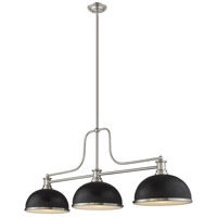 Z-Lite 725-3BN-D12MB+BN Melange 3 Light 13 inch Brushed Nickel Chandelier Ceiling Light in Matte Black and Brushed Nickel Metal and Glass