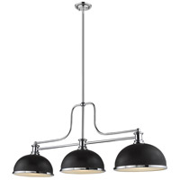 Z-Lite 725-3CH-D12MB+CH Melange 3 Light 13 inch Chrome Chandelier Ceiling Light in Matte Black and Chrome Metal and Glass