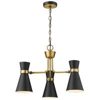 Z-Lite 728-3MB-HBR Soriano 3 Light 24 inch Matte Black and Heritage Brass Chandelier Ceiling Light