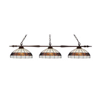 Z-Lite 88103BRZ-F14-1 Aztec 3 Light 50 inch Bronze Island Light Ceiling Light in 14, Multi Colored Tiffany Glass (F14-1)