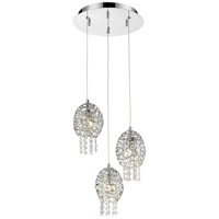 Nabul 3 Light 12 inch Chrome Pendant Ceiling Light