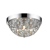 Z-Lite 889CHF12 Nabul 3 Light 12 inch Chrome Flush Mount Ceiling Light
