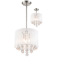 Z-Lite Aura 3 Light Convertible Pendant/Semi Flush Mount in Brushed Nickel 891-12W-C