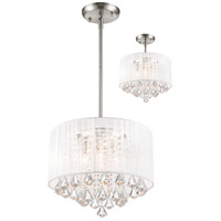 Z-Lite Aura 4 Light Convertible Pendant/Semi Flush Mount in Brushed Nickel 891-16W-C