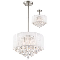 Z-Lite Aura 5 Light Convertible Pendant/Semi Flush Mount in Brushed Nickel 891-20W-C