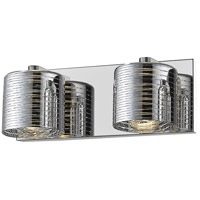 Z-Lite 911-2V-LED Sempter LED 13 inch Chrome Vanity Wall Light in 2 1.76 Chrome Glass