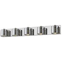 Z-Lite 911-5V-LED Sempter LED 36 inch Chrome Vanity Wall Light in 5 4.85 Chrome and Crystal