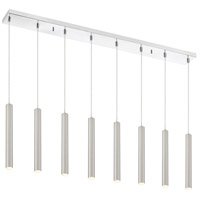 Z-Lite 917MP12-BN-LED-8LCH Forest LED 44 inch Chrome Island/Billiard Ceiling Light in Brushed Nickel Steel 8 22