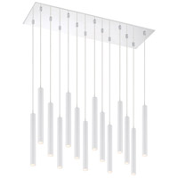 Z-Lite 917MP12-WH-LED-14LCH Forest LED 32 inch Chrome Island/Billiard Light Ceiling Light in 37 Matte White Steel 14
