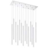 Z-Lite 917MP24-WH-LED-14LCH Forest LED 32 inch Chrome Island/Billiard Ceiling Light in 51 Matte White Steel 14