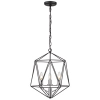 Z-Lite 918-14MB-CH Geo 3 Light 14 inch Matte Black and Chrome Chandelier Ceiling Light