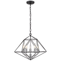 Z-Lite 918-18MB-CH Geo 5 Light 18 inch Matte Black and Chrome Chandelier Ceiling Light