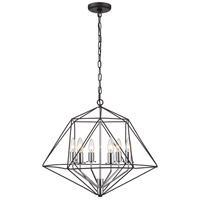Z-Lite 918-22MB-CH Geo 6 Light 22 inch Matte Black and Chrome Chandelier Ceiling Light
