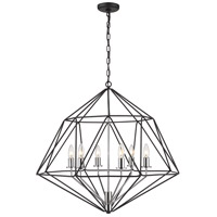 Z-Lite 918-30MB-CH Geo 6 Light 30 inch Matte Black and Chrome Chandelier Ceiling Light