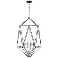 Z-Lite 918-35MB-CH Geo 6 Light 22 inch Matte Black and Chrome Chandelier Ceiling Light