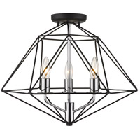 Z-Lite 918SF-MB-CH Geo 3 Light 18 inch Matte Black and Chrome Semi Flush Mount Ceiling Light