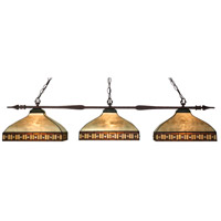 Aztec 3 Light 50 inch Bronze Island Light Ceiling Light in 14, Multi Colored Tiffany Glass (F14-52)