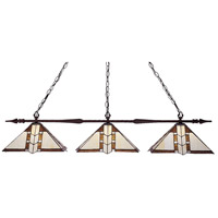 Aztec 3 Light 50 inch Bronze Island Light Ceiling Light in 14.5, Multi Colored Tiffany Glass (F14-1)
