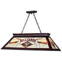 Z-Lite KD27RED Tiffany Billiard 4 Light 44 inch Matte Black Island Light Ceiling Light