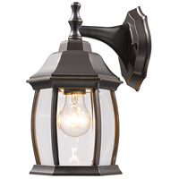 Waterdown 1 Light 12 inch Oil Rubbed Bronze Outdoor Wall Sconce in Clear Beveled Glass