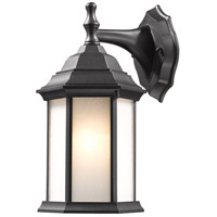 Waterdown 1 Light 12 inch Black Outdoor Wall Light in White Seeded Glass
