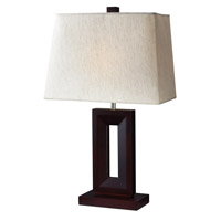Portable Lamps 27 inch 100 watt Mahogany Finish/Flax Linen Table Lamp Portable Light