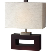 Z-Lite Portable Lamps 1 Light Table Lamp in Mahogany Finish/Flax Linen TL105
