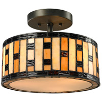 Z-Lite Raya 3 Light Semi-Flush Mount in Java Bronze Z12-51SF