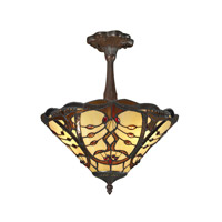Jenova 3 Light 14 inch Chestnut Bronze Semi-Flush Mount Ceiling Light