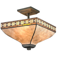 Crimson 3 Light 14 inch Java Bronze Semi Flush Mount Ceiling Light