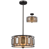 Lankin 3 Light 14 inch Bronze Pendant Ceiling Light in Multi Colored Tiffany Glass (54)